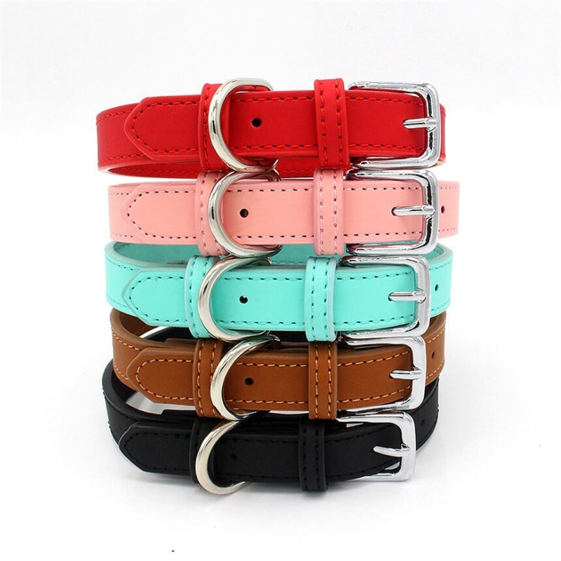 5 Colors PU Small Dogs Collars XS-M Adjustable Zinc Alloy Solid Color Puppy Collar Comfortable Durable Pets Supplies Accessories