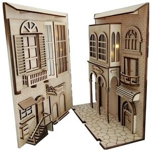 DIY KIY Diagon Alley Wooden Book Nooks Art Bookends European Town Removable Handmade Book Decoration Led Bookshelf