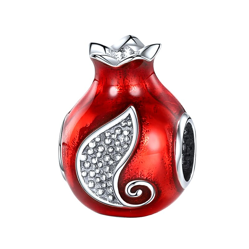 Abalorios de Plata de Ley 925 con esmalte rojo de XiaoJing con forma de fruta, abalorios de Granada con circonita cúbica para pulseras Pandora, joyería para Regalos para mamá al por mayor