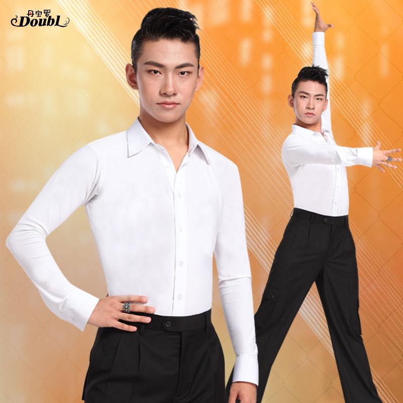 Мужская одежда для бальных танцев и латиноамериканских танцев, белая рубашка на пуговицах, топы с длинными рукавами, официальный костюм для...