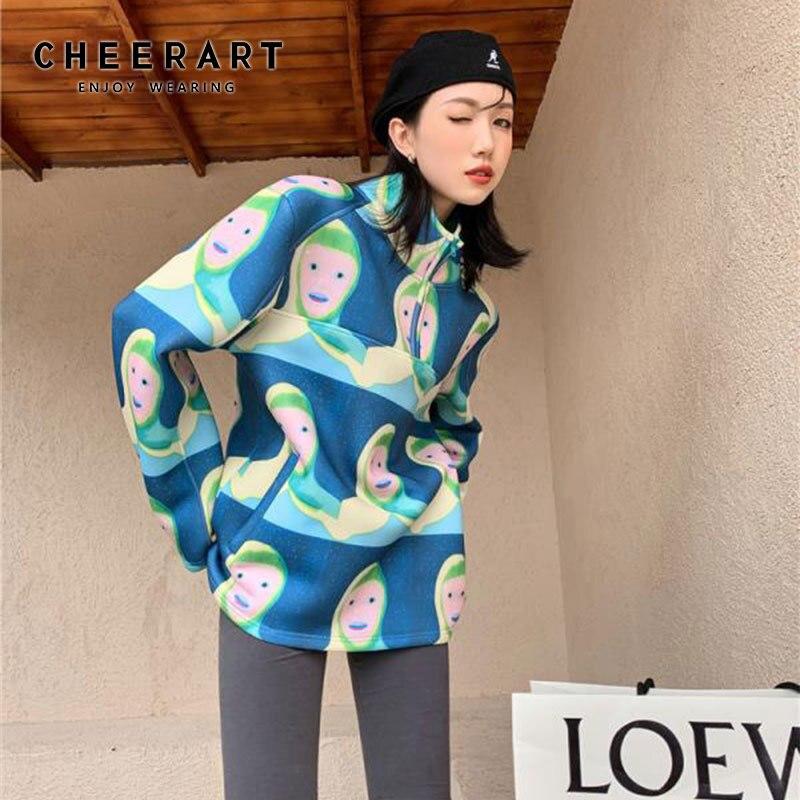 سترة نسائية ذات تصميم مرح سترة بغطاء للرأس ذات حجم كبير سترة مطبوعة برسوم كرتونية ملابس الشارع الشهير ملابس جمالية خريف 2020