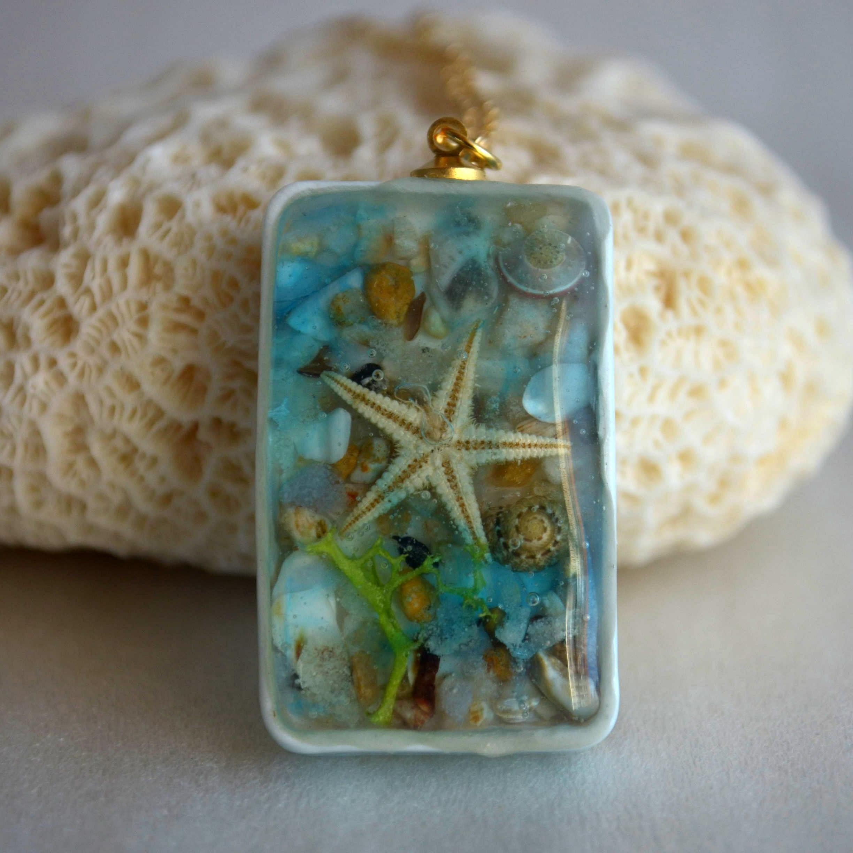 Estrella de mar Natural concha de mar arena playa resina cuboide dije de porcelana Color oro cadena largo collar bohemio para mujer joyería de moda