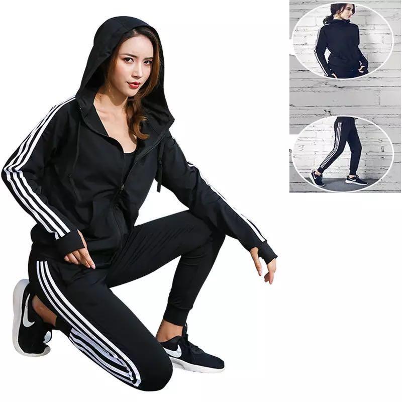 New Women Tracksuit Set Loose Sports Jacket Sweatshirt Sports Harem Pants Gym Fitness Running Jog Set Sportswear  2 pcs
