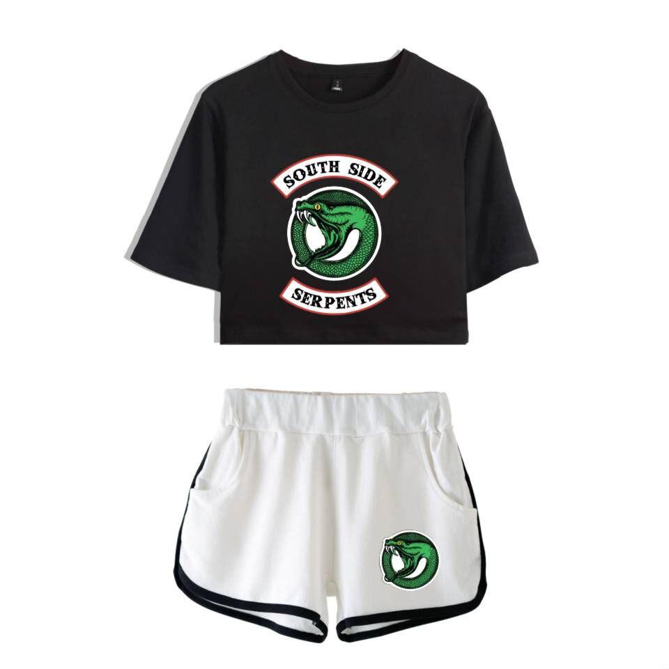 Riverdale deux pièces ensemble été Sexy 2019 coton imprimé t-shirt nouveau costume Shorts culture femmes mode côté sud serpents survêtement