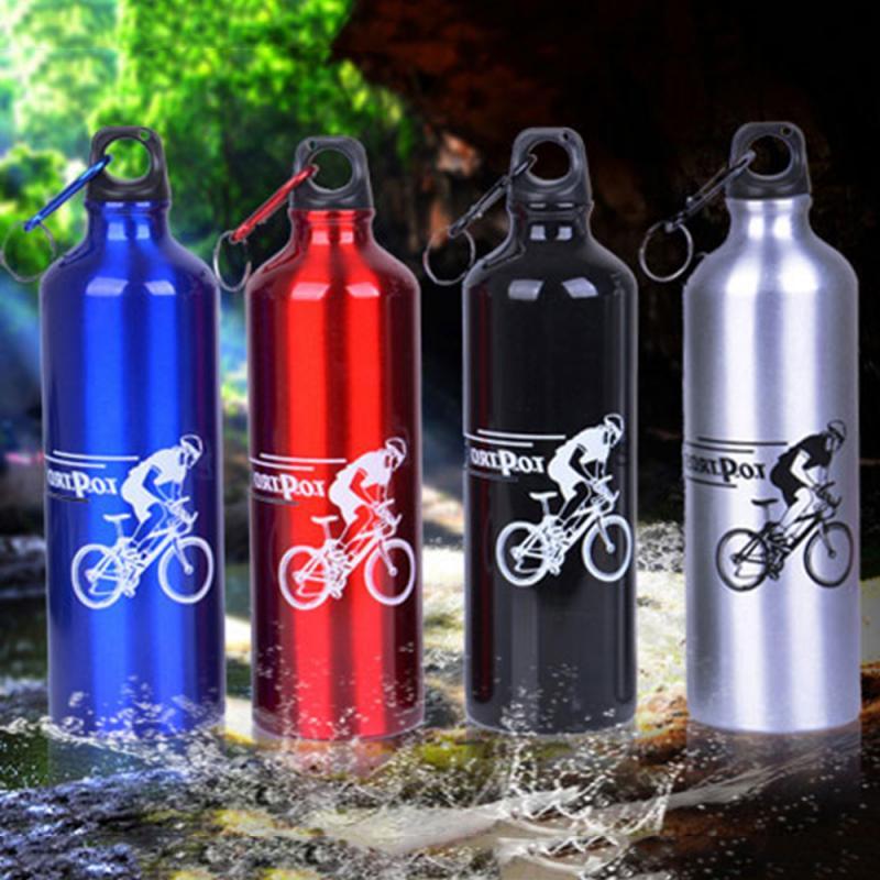 Botella de agua para deportes al aire libre, portátil, de aluminio, de 4 colores, con tapa, a prueba de fugas, con sello, botella de agua para escalar