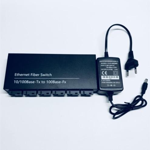 Convertidor de conmutador Ethernet rápido de 10/100M, convertidor de medios de fibra óptica Ethernet de 25KM, modo único 2 * RJ45 y 6 * SC, interruptor de fibra rápida