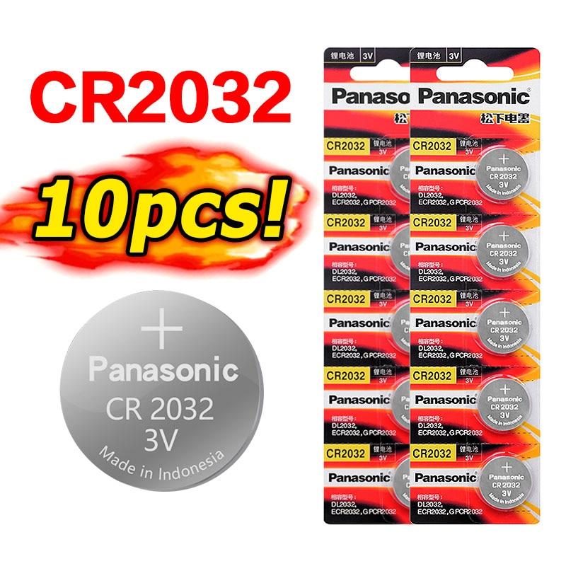 10 Uds original de la marca para PANASONIC cr2032 DL2032 ECR2032 5004LC KCR2032 BR2032 3v pila de botón de litio baterías para ver
