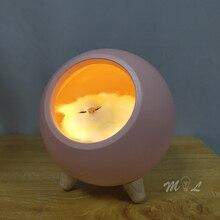 Capteur tactile Led veilleuse mignon Animal lampe de nuit minimaliste lampe de bureau chat enfants cadeau chambre lumière lampes de Table USB rechargeable