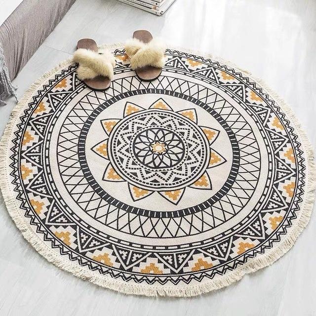 Tapete em estilo étnico para o ar livre, tapete de porta redondo nórdico de algodão e linho para oração, quarto, antiderrapante tapetes boêmio