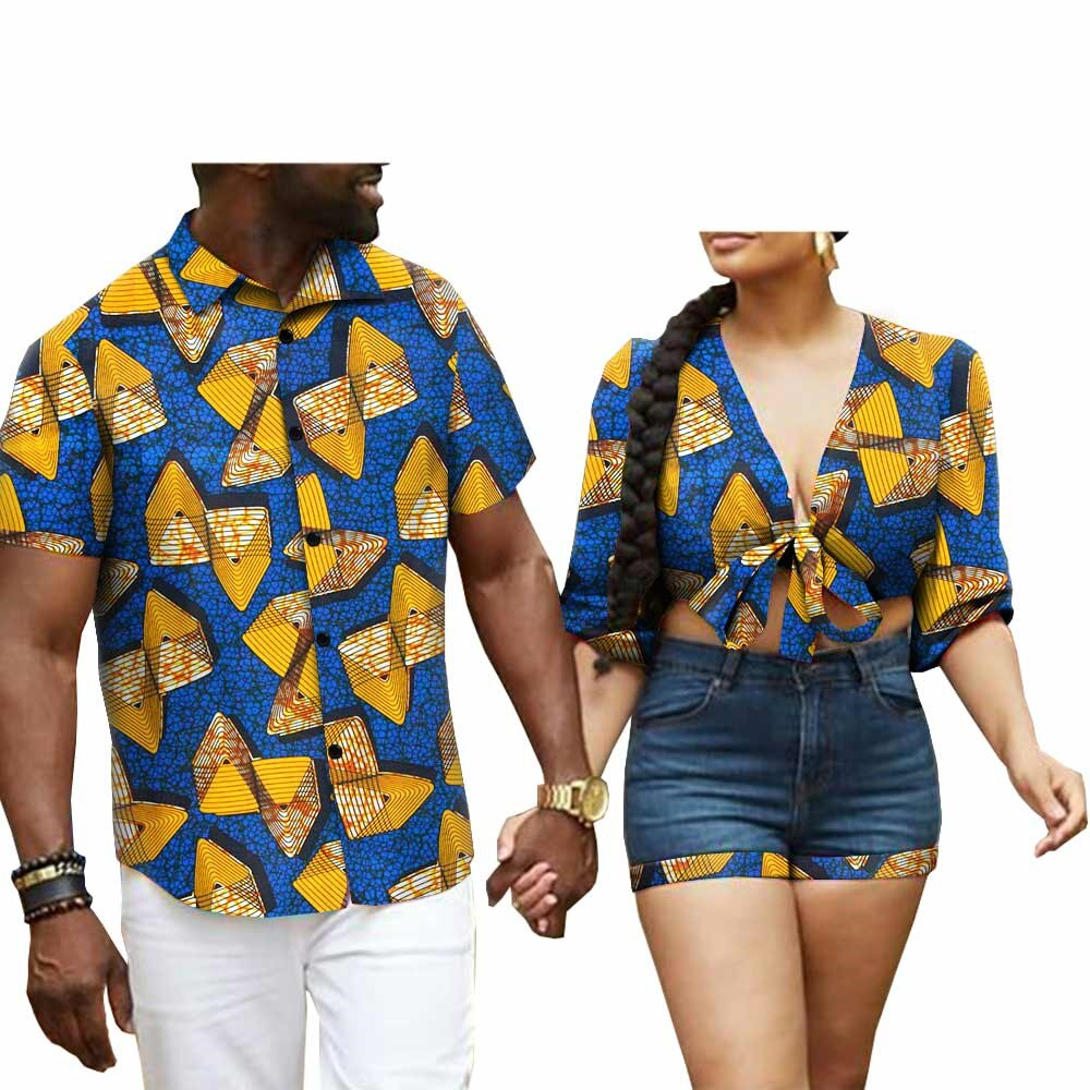 African Clothes Tops and Tannin Shorts for Women Matching Couples Dashiki Men Print Shirt S20C016