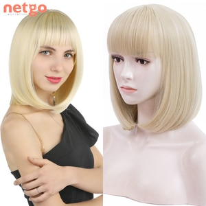 Netgo Short Bob Synthetic Wig With Bangs Blonde Pink Wig Heat Resistant Fiber For Black White Women Daily Use Cosplay Party