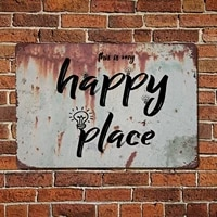 recreation room home wall decoration metal tin sign this is my happy place retro living room bedroom decoration metal plate