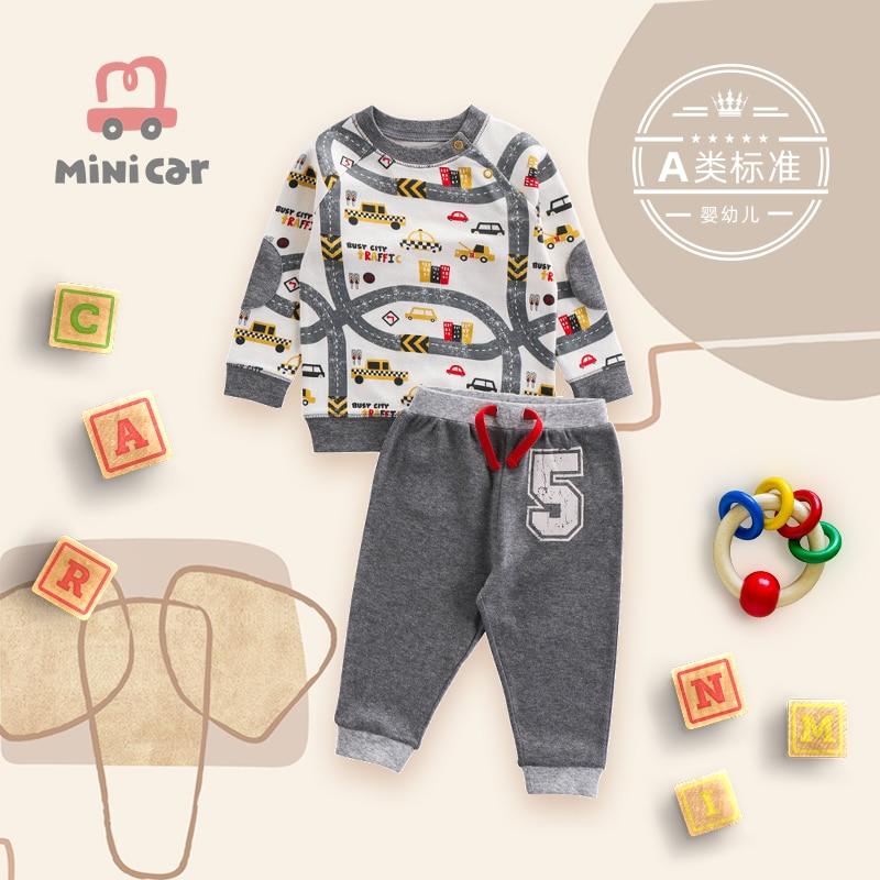 Car children's wear children's T-shirt set spring and autumn Boys Baby Clothes warm sports clothes