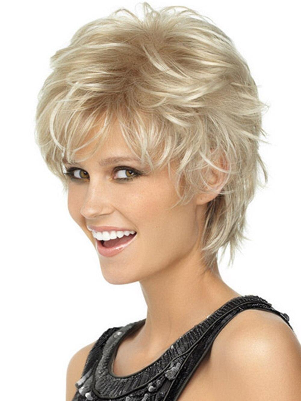 Capless Blonde Wavy human hair Modern Short Wigs