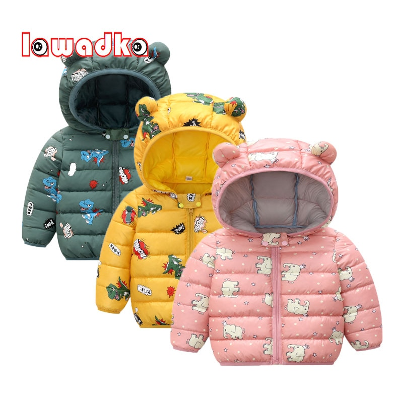 2018 new kids baby girl boy 2 4y outwear fur hooded coat ski snow suit jacket bib pants overalls 30 degree down clothes Baby Girl Clothes Winter Coat Down Cotton Cartoon Hooded Zipper Baby Boy Clothing Outerwear Fashion Baby Snowsuit Overalls 2020