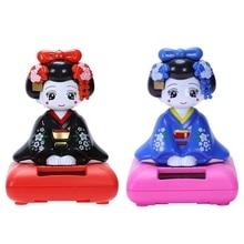2Pcs Solar Powered Bobblehead Toy Figure, Japanese Kimono Maiko Geisha - Blue & Black