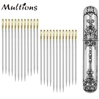 24pcs self threading needles with vintage sewing needles holder storage case big eye hand sewing needles for sewing accessories