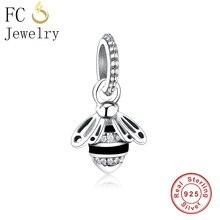 Fc jóias caber pandora encantos pulseira 925 prata esterlina animal mel abelha esmalte preto grânulo pingente berloque diy presente