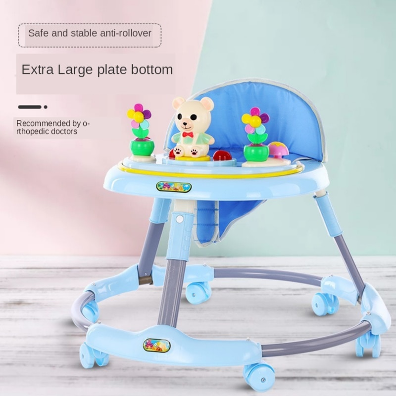 anti rollover baby activity child walker baby u walker car with wheels music folding baby learning walker walking assistant aid Hot New Baby Walker Music Baby Folding Car 6-18 Months Child Anti-rollover Multi-function Walker Baby Walker Can Sit