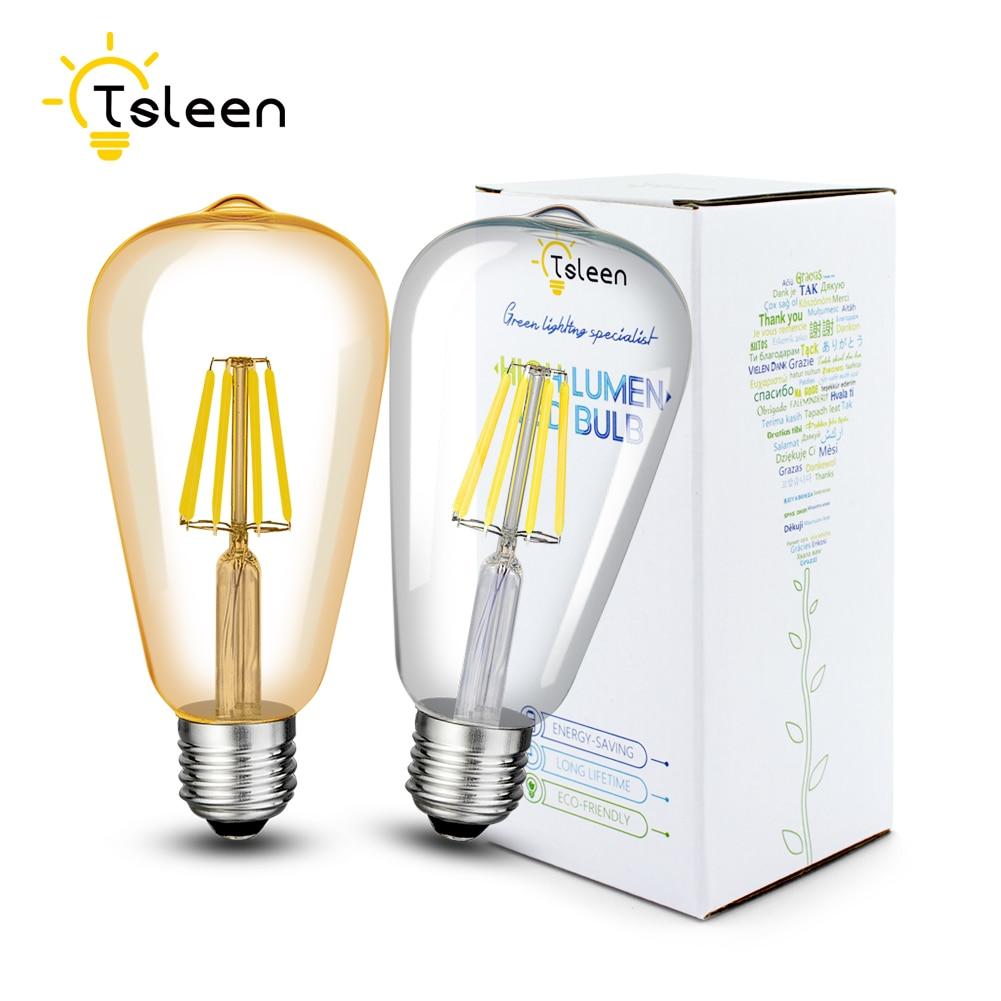 Ретро антикварная лампа Bombillas ST64, золотые светодиодный лампы накаливания, стекло, 16 Вт, лампа Эдисона, винтажная лампа E27, 220 В, 4 Вт, 8 Вт, 12 Вт, д...