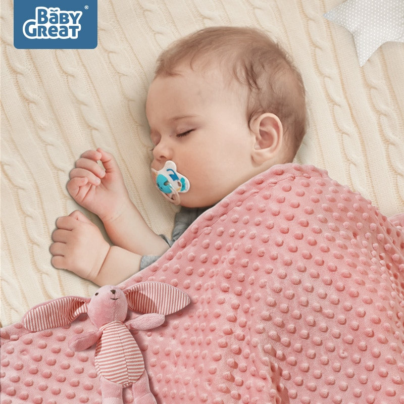 BABYGREAT Baby Plush Blanket Double Layer 3D Minky Dot Newborn Toddler Swaddle quilt Ultra Soft Kids winter Appease Blanket