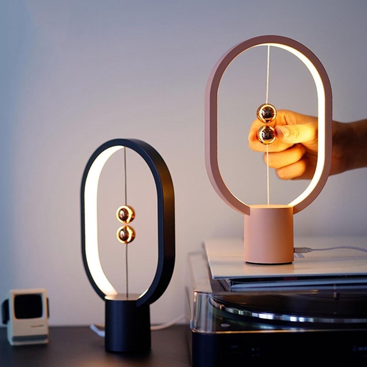 المغناطيسي LED الجدول مصباح التحكم باللمس ضوء الليل USB قابلة للشحن مصغرة HENGPRO التوازن القطع الناقص منتصف الهواء التبديل العناية بالعين