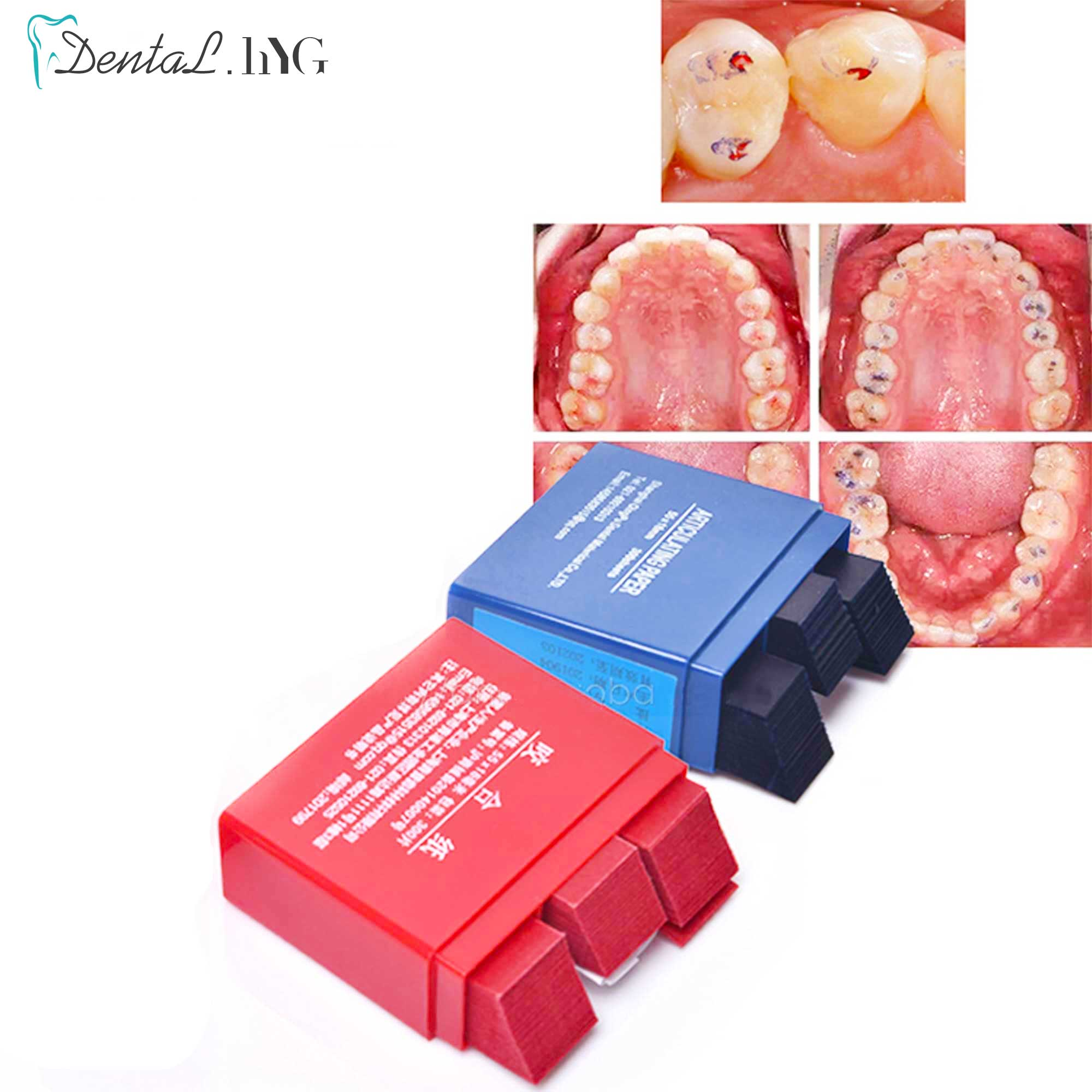 7.2*6.2*2.3cm Red/Blue 300 Sheet/Box Dental Articulating Paper Strips Dental Lab Product Tool Oral Teeth Care Whitening Material