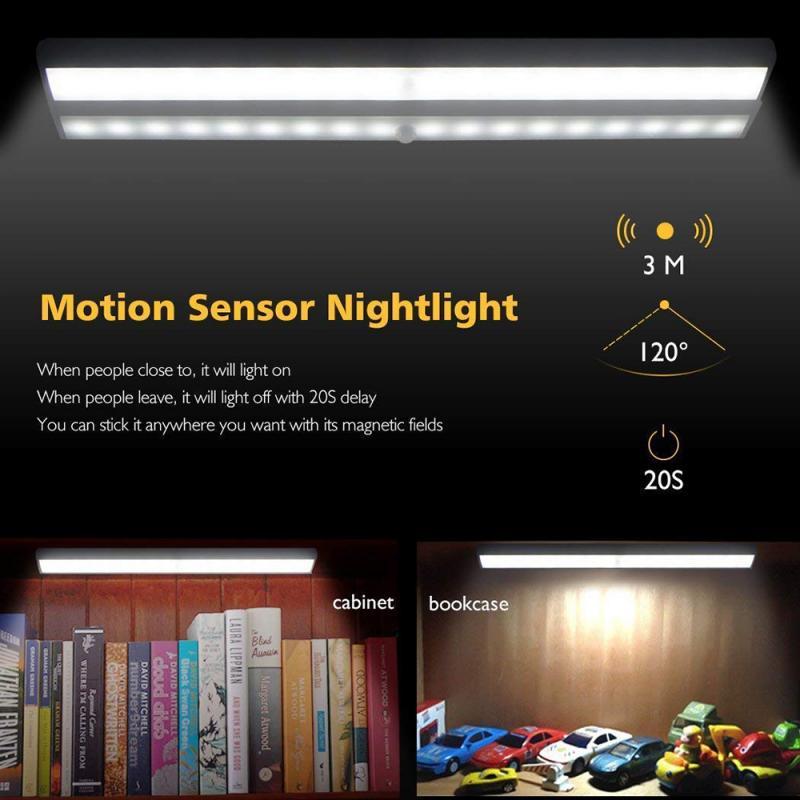 10 Sensor de movimiento LED luces de armario batería armario PIR cama y armario luz bajo armario noche armario escaleras Cocina