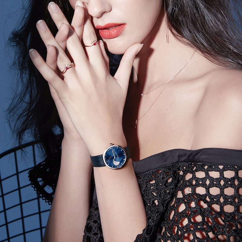 AGELOCER Swiss Brand Ladies Real Moonphase Watch Women Sapphire Waterproof Blue Leather Wrist Watches Moon phase Bracelet 6504A1 enlarge