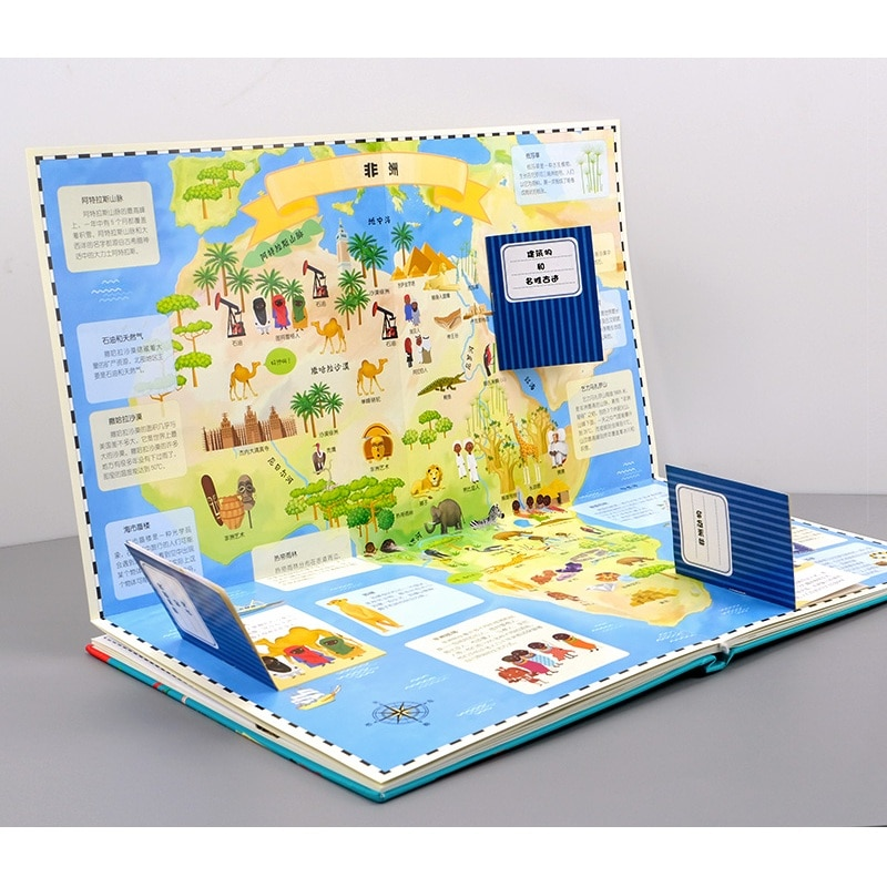 3D Flap Book Children Reading Books My First Exploration Picture Book Travel Around the World English Educational недорого