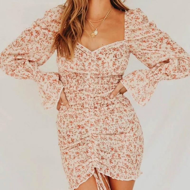 2020 Spring New Women Floral Print Sashes Shirt Dress Beach Women's Loose Short Boho Mini Dress Girls Party Solid Streetwear
