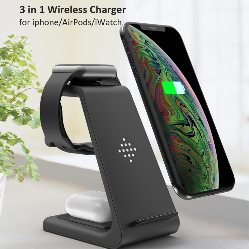 10W Qi carga rápida 3 en 1 cargador inalámbrico para Airpods 2 iPhone 11 Pro XS MAX XR para Apple Watch 5 4 3 2 soporte de carga inalámbrica