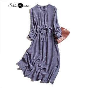 Silk Silk Dress Female, Fall 2020) New Long-Sleeved Silk Tie-Waist Hugging Temperament Medium-Length Dress Women