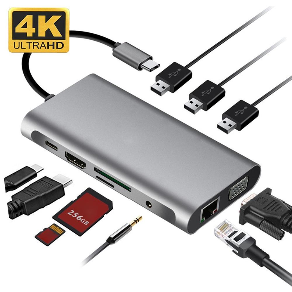10 في 1 محطة إرساء USB C Hub Type C محول متعدد المنافذ مع 4K @ 30Hz HDMI-Compatlble/Ethernet/VGA/3 USB 3.0/SD/TF/PD/Audio