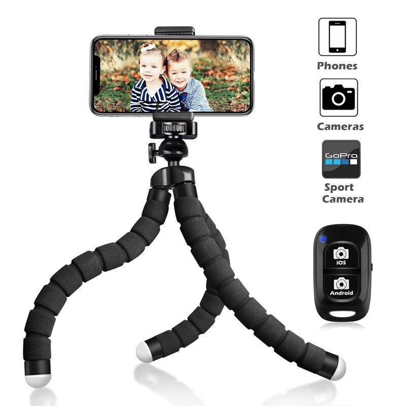 Tripé com Bluetooth Vara para Iphone Esponja Flexível Polvo Mini Remoto Obturador Selfie Samsung Câmera Gopro