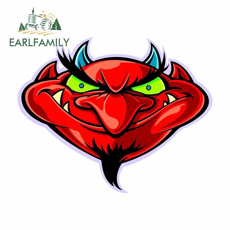 EARLFAMILY, 13cm x 10,4 cm, pegatinas de vinilo para coche de dibujos animados de diablo rojos sonrientes, JDM, parachoques, tronco, camiones, gráficos, accesorios para coche
