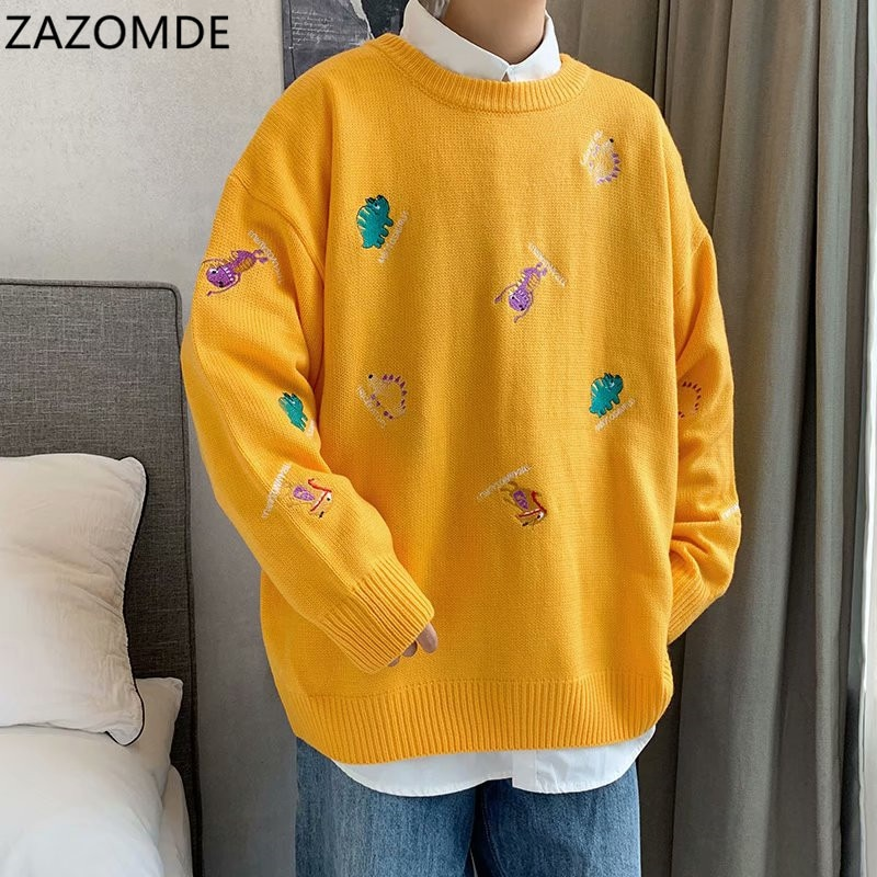 Мужские корейские свитера ZAZOMDE, пуловеры с длинным рукавом 2020, мужские Модные Повседневные вязаные свитера оверсайз, осенние мужские топы о...