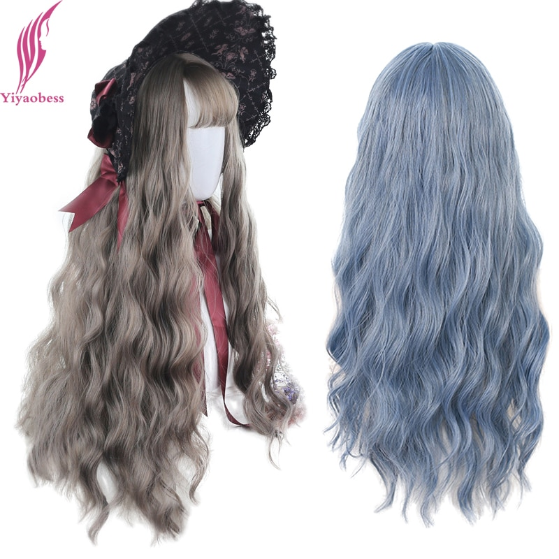 Yiyaobess Natural Long Blue Wig With Bangs Synthetic Wavy Hair Brown Linen Grey Black Cosplay Wigs For Women Pelucas De Mujer