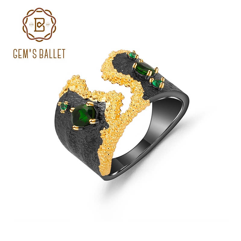 GEM'S BALLET 925 Sterling Silver Handmade Multicolor Floral Nature Autumn Flower Shell Band Ring With Chrome Diopside For Women