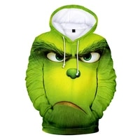 spring and autumn green haired anime hoodie men sweatshirt lounge wear fashion grinch hooded 3d printing streetwear men clothing