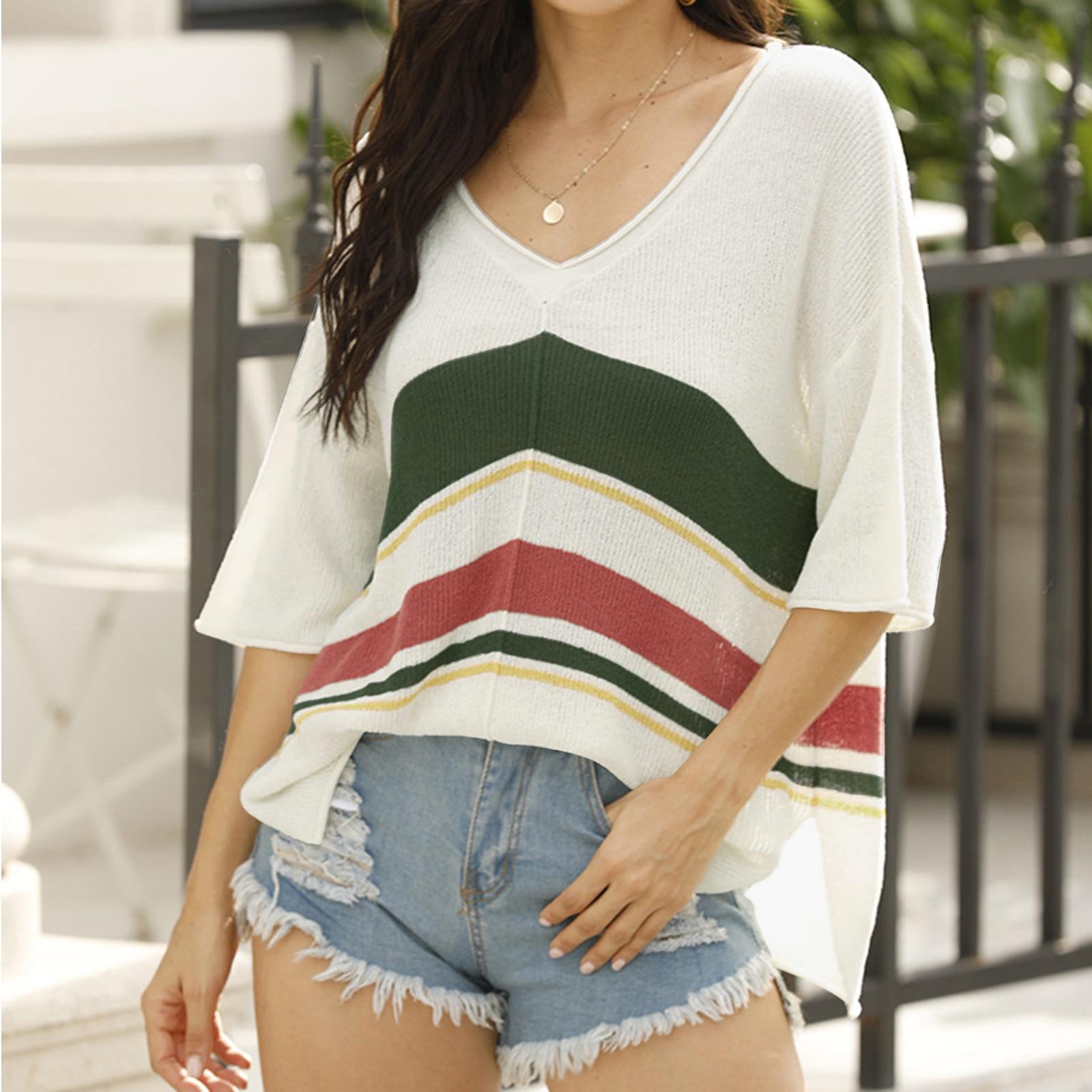 Camiseta informal De Color liso para Mujer, suéter y camiseta De Manga...