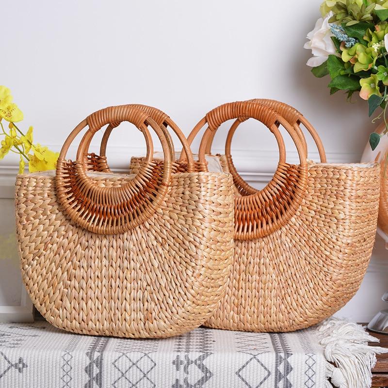 Lovevook handbag woven straw bags summer beach bags for ladies rattan bags for travel luxury women bag designer Bohemia moon bag