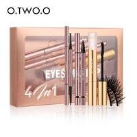 O.TWO.O 4pcs Eyes Makeup Set Eyebrow Pencil Liquid Eyeliner Volume Mascara False Eyelashes Cosmetic Kit Professional Makeup Kit