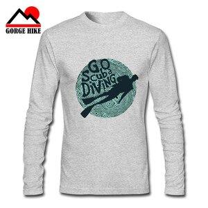 2019 Summer Explore Tee Shirt Scuba Divs T-Shirt Diver Helmet Water Brave Hearts Long Sleeves Dive Deep Underwater ONeck T-shirt