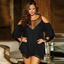 Plus Größe 7XL Dessous Nachtwäsche Schwarz Nacht Kleid Dessous Damen Sexy Spitze Babydolls Nachtwäsche Frauen Erotische Große Homewear