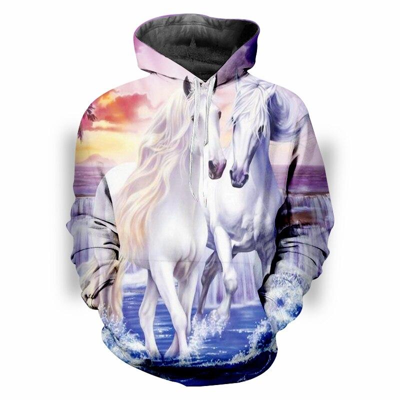 Moda 3D impresión un par de caballos blancos Hoodies hombres mujeres ropa de calle con capucha sudadera Unisex Casual Pullover ropa