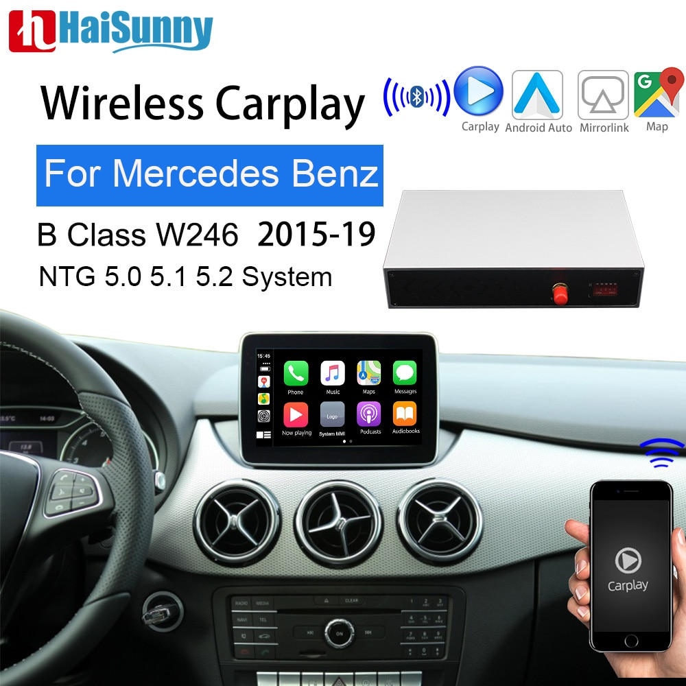 Get Wireless carplay car retrofit for Mercedes B180 W246 W242 2015-19 Support Mirror link Reverse camera Android auto navigation