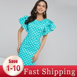 Vintage polka dot vestido feminino bodycon vestidos 2xl retro pino up feminino plissado manga azul magro sexy casual festa vestido de verão