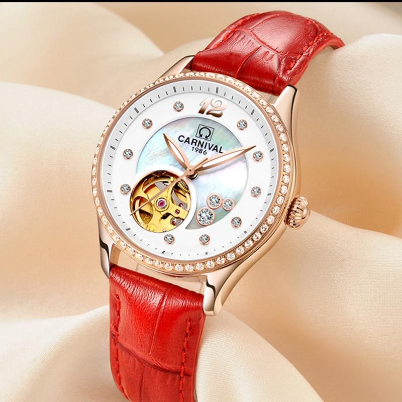 CARNIVAL Brand Fashion Rose Gold Automatic Watch Women Fashion Waterproof Luminous Hollow Mechanical Wristwatch Relogio Feminino enlarge