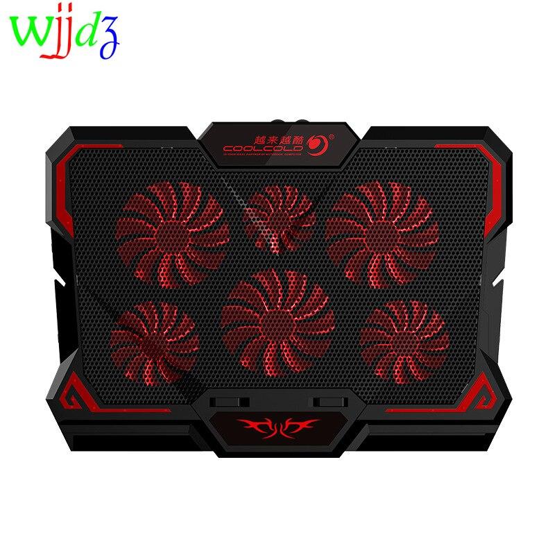 17 بوصة محمول LED برودة دفتر لوحة التبريد حامل كمبيوتر محمول الألعاب اثنين منفذ USB برودة مروحة تنظيم السرعة ستة المشجعين